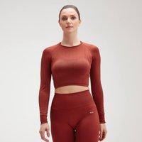 MP Women's Shape Seamless Ultra Long Sleeve Crop Top - Burnt Red - XL