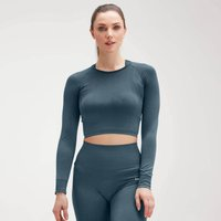 MP Womens Shape Seamless Ultra Long Sleeve Crop Top - Deep Sea Blue - XS
