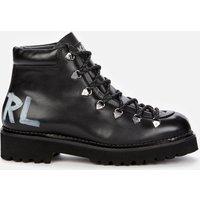 KARL LAGERFELD Women's Kadet II Leather Hiking Style Boots - Black - UK 4