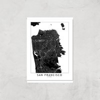 San Francisco Dark City Map Giclee Art Print - A3 - Print Only