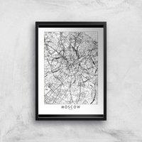Moscow Light City Map Giclee Art Print - A4 - Black Frame