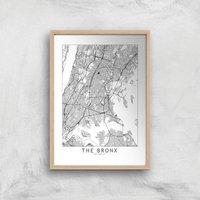 The Bronx Light City Map Giclee Art Print - A2 - Wooden Frame