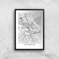 Stockholm Light City Map Giclee Art Print - A2 - Black Frame