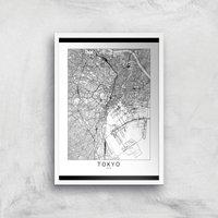 Tokyo Light City Map Giclee Art Print - A3 - White Frame