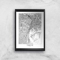 Tokyo Light City Map Giclee Art Print - A2 - Black Frame