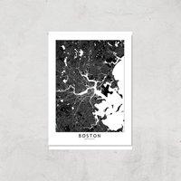 Boston Dark City Map Giclee Art Print - A3 - Print Only