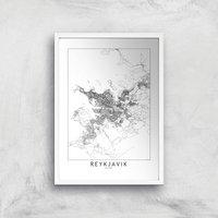 Reykjavik Light City Map Giclee Art Print - A3 - White Frame