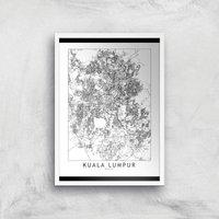 Kuala Lumpur Light City Map Giclee Art Print - A4 - White Frame