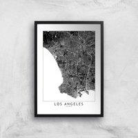 Los Angeles Dark City Map Giclee Art Print - A3 - Black Frame