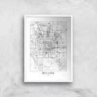Beijing Light City Map Giclee Art Print - A3 - White Frame