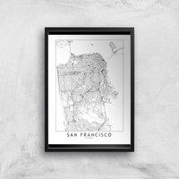 San Francisco Light City Map Giclee Art Print - A2 - Black Frame