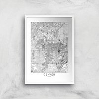 Denver Light City Map Giclee Art Print - A4 - White Frame