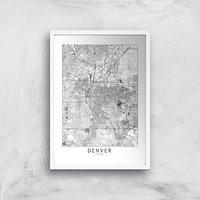 Denver Light City Map Giclee Art Print - A4 - White Frame