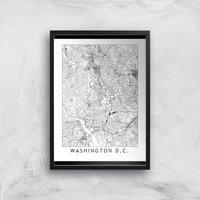 Washington DC Light City Map Giclee Art Print - A4 - White Frame
