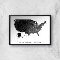 United States Of America Dark Map Giclee Art Print - A4 - Black Frame