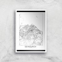 Edinburgh Light City Map Giclee Art Print - A4 - White Frame