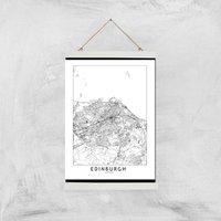 Edinburgh Light City Map Giclee Art Print - A3 - White Hanger