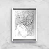 Oslo Light City Map Giclee Art Print - A3 - White Frame