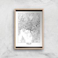 Oslo Light City Map Giclee Art Print - A2 - Wooden Frame