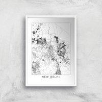 New Delhi Light City Map Giclee Art Print - A4 - White Frame