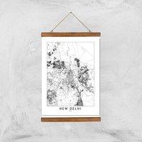 Image of New Delhi Light City Map Giclee Art Print - A3 - Wooden Hanger