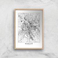 Warsaw Light City Map Giclee Art Print - A2 - Wooden Frame