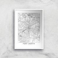 Fort Worth Light City Map Giclee Art Print - A4 - White Frame