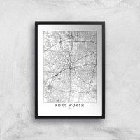 Fort Worth Light City Map Giclee Art Print - A2 - Black Frame