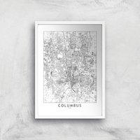 Columbus Light City Map Giclee Art Print - A4 - White Frame