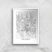 Image of Columbus Light City Map Giclee Art Print - A2 - White Frame