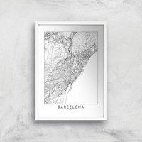 Barcelona Light City Map Giclee Art Print - A4 - White Frame