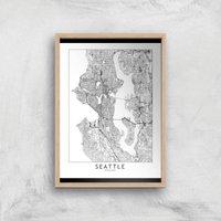 Seattle Light City Map Giclee Art Print - A3 - Wooden Frame