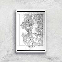 Seattle Light City Map Giclee Art Print - A3 - White Frame