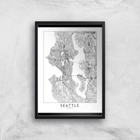 Seattle Light City Map Giclee Art Print - A2 - Black Frame