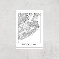 Staten Island Light City Map Giclee Art Print - A4 - Print Only