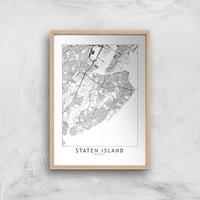 Staten Island Light City Map Giclee Art Print - A3 - Wooden Frame