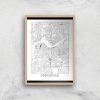 Louisville Light City Map Giclee Art Print - A4 - Wooden Frame