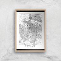 Portland Light City Map Giclee Art Print - A3 - Wooden Frame