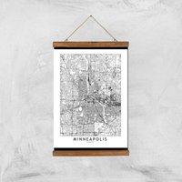 Minneapolis Light City Map Giclee Art Print - A3 - Wooden Hanger