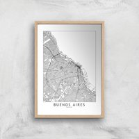 Buenos Aires Light City Map Giclee Art Print - A4 - Wooden Frame