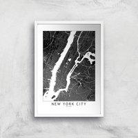 New York City Dark City Map Giclee Art Print - A3 - White Frame