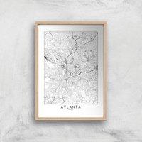 Atlanta Light City Map Giclee Art Print - A2 - Wooden Frame
