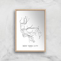 New Your City Subway Map Giclee Art Print - A4 - Wooden Frame