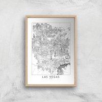 Las Vegas Light City Map Giclee Art Print - A4 - Wooden Frame