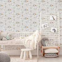 Disney Winnie The Pooh Character Up And Away Grey/White Wallpaper