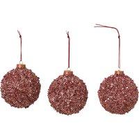 Broste Copenhagen Glitter Bauble - Set of 3 - Red