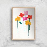 Kubistika Happy Little Flowers Giclee Art Print - A4 - Wooden Frame