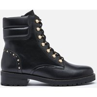 Dune Womens Pearlise Leather Lace Up Boots - Black - UK 8