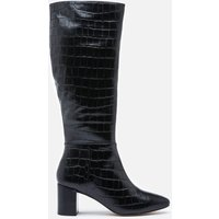 Dune Women's Saffia Croc Printed Leather Knee High Boots - Black - UK 4