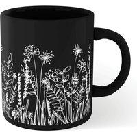 Wild Flower Outline Mug - Black